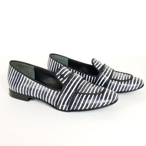 TORY BURCH Evette Snake-Effect Striped Loafer
